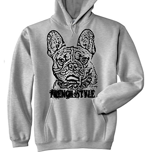 Teesquare1st Men's FRENCH BULLDOG FRENCH STYLE P 1 New Grey Cotton Hoodie Size XLarge