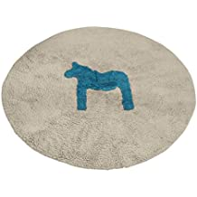 S&Y Cartoon Pony cotone Round Tappetini/zerbini, Stanza dei bambini di wrestling al posto letto mat tappeti d'ingresso,Non-slip Mats (Colore : rosso cavallo, Dimensioni : Diametro 120cm)