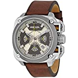 Diesel Bamf Men's Quartz Watch with Multicolour Dial Analogue Display and Brown Leather Bracelet Dz7343