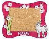 Unbekannt Bastelset Pinnwand Kork incl. NAME - Einhorn Pferd - Korkplatte mit 6 Pins - Wandtafel Pinboard für Kinder Mädchen Einhörner Blumen