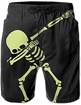 Funny Caps Dabbing Pirate Skull Hip Hop Men's/Boys Casual Swim Trunks Short Elastic Waist Beach Pants with Pockets