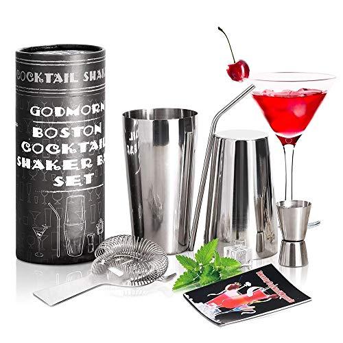 Godmorn Shaker per Cocktail, 600/700ML Professionale Set da Cocktail Shaker, Scuotitore per Cocktail, Doppia Misura Jigger, Hawthorne Colino per Bar, Paglia, Set Bar di Casa, Confezione Regalo