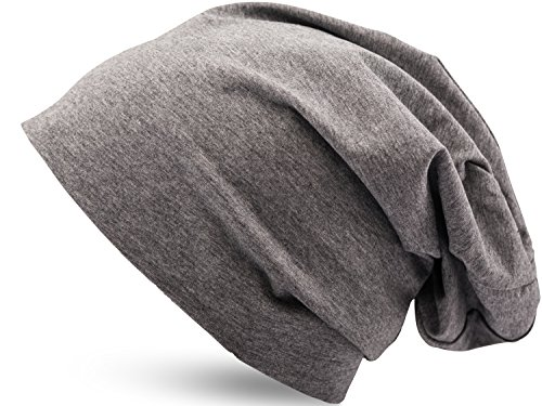 Jersey di cotone elastico lungo slouch beanie uomo & donna unisex berretto heather in 35 vari colori (3) - heather grigio scuro, one size