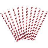 Papel pajitas 12STK Paquete Rojo de color blanco