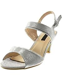 fba3d8448412 Angkorly - Damen Schuhe Sandalen Pumpe - knöchelriemen - Metallischen -  glänzende - Glitzer Trichterabsatz High