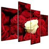 Bilderdepot24 Kunstdruck - Weiße Rose - Bild auf Leinwand - 120x80 cm 4 teilig - Leinwandbilder - Bilder als Leinwanddruck - Wandbild Pflanzen & Blumen - Natur - weisse Rose - rote Rosen