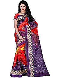 Being Banarasi Women's Bhagalpuri Cotton Silk Bandhani Printed Saree With Blouse Piece (Bb_Life_Multi-Color)