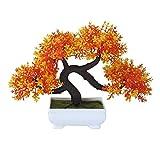 Künstlicher Mini guest-greeting Kiefer Creative Simulation Bonsai Baum Topfpflanzen für Home Office-Schreibtisch Tisch Decor, rot