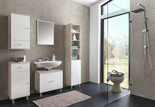 l Set 'Frio III' Sonoma EicheHolz günstig 5-teilig Badezimmer Waschbeckenunterschrank Spiegel Hochschrank Hängeschrank Kommode ()