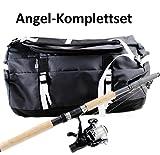 Schnäppchen ANGEL-KOMPLETTSET + TASCHE schwarz wasserfest Angelrute B/H/T ca. 53 x 32,5 x 32,5 cm Freizeit Rucksack Angeltasche 50 Liter ~ds5 +
