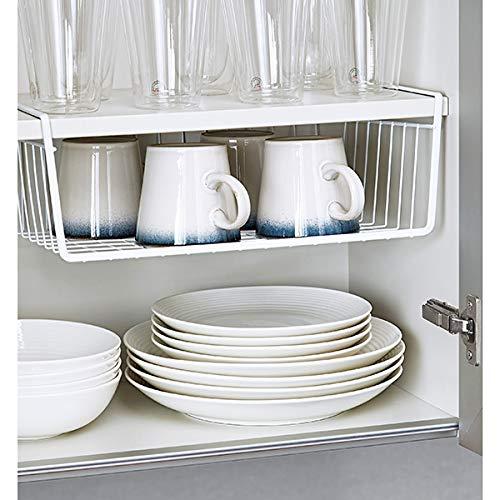 Go Hooked 16-inch Under Shelf Basket (Large, Powder Coated Iron, White)
