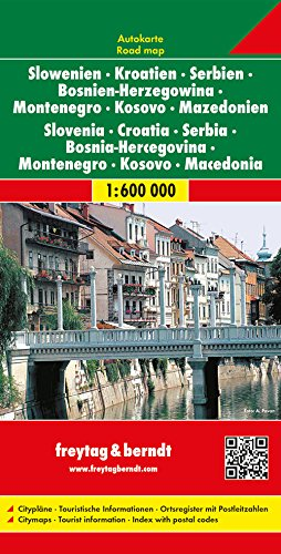 Straßenkarte Südosteuropa: Slowenien, Kroatien, Serbien, Bosnien-Herzegowina, Montenegro, Mazedonien, Maßstab 1:600.000