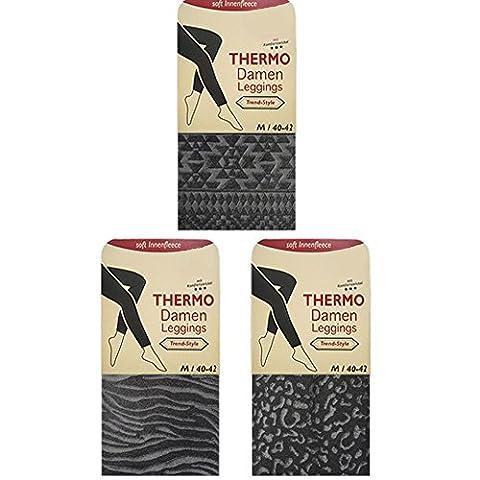 1 Stk. Thermo Leggings Warm Damen Muster Farbig Dick Winter Polyester von SGS (L, Leo-Muster)