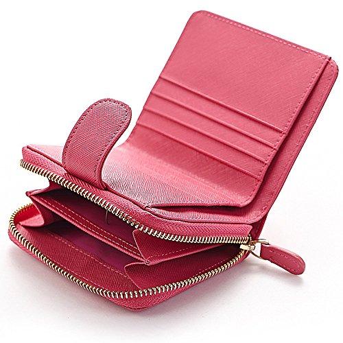Artemis'Iris Donne Mini Compact piccolo raccoglitore Monete frizione Zipper denaro cambiare le schede dell'organizzatore del supporto della borsa del Corto, rosa black