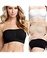 PACK OF 3 STRAPLESS clubcorsets® Bra Tube Top Bandeau Style Removable Padding Bra Seamless Stretch (3pcs a set)