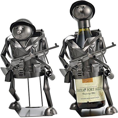 [en.casa] Flaschenhalter Soldat Weinhalter Geschenk Weinflaschen-Halter Wein Ständer - Perfektes Weihnachtsgeschenk