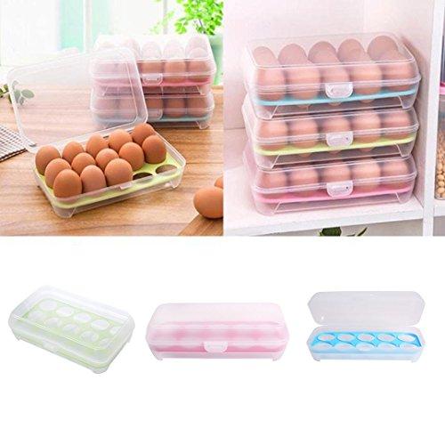 Große Kapazität Eierhalter mit Deckel Vorratdosen für 10 Eier für Packnick und Kühlschrank,Transparent,Clip & Close (Roserot)
