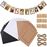 Fashion HW - Set di 30 cornici di Carta per Foto Fai da Te, 10 x 15 cm, con Clip in Legno e Filo da Appendere, in Cartone, per Decorare la casa Black+White+Brown, 30pcs