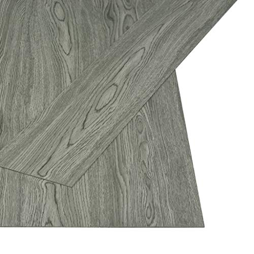 *Festnight- PVC Laminat Dielen Selbstklebend Vinyl Bodenbelag | Strapazierfähig und rutschfest | 4,46 m² Grau für Küche, Bad, Flur und Wohnzimmer*