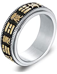 Beydodo Jewellery Titanium Rings for Men, Gold Silver Text Ring Bands Size N 1/2-Z 1/2 Mens Ring Fashion