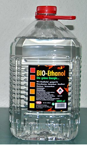 5 Liter Bioethanol ,96% Bio Alkohol, die grüne Energie, Kamin Ethanol
