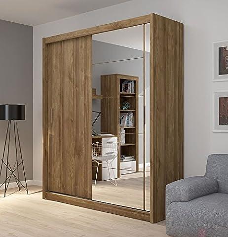 Fado Grande armoire 2portes Armoire miroir avec portes coulissantes Miroir étagères à suspendre Vêtements Rail meubles de chambre à coucher couloir