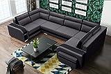 Sofa Couchgarnitur Couch SofagarniturASSAN als U Form mit Schlaffunktion, 3 Bettkästen mit komfortablem Federungssystem. Ottomane links oder rechts kostenlos wählbar (Inari 96 + Inari 100)