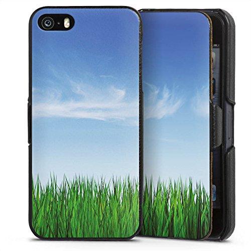 Horizont-garne (Apple iPhone SE Lederhülle Handyhülle mit Klappe Klappfunktion Flip Case Wiese Horizont Gras)
