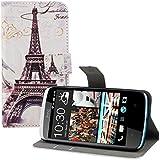 kwmobile Hülle für HTC Desire 500 - Wallet Case Handy Schutzhülle Kunstleder - Handycover Klapphülle mit Kartenfach und Ständer Eiffelturm Design Schwarz Weiß