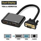 Foshung Adaptador VGA a HDMI, 1080P VGA a VGA HDMI Convertidor de Video de Pantalla Sincrónica, VGA y HDMI y Audio 3 en 1 Adaptador con Micro USB Cable para Proyector Monitor de HDTV