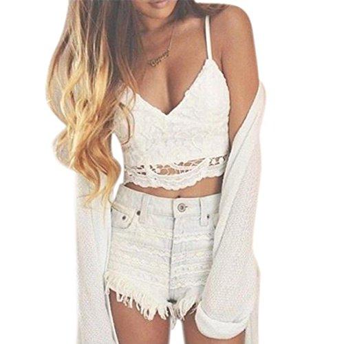 Mode Damen Weste,Xinan Frauen Crochet Behälter-Unterhemd Spitze Weste Bluse Bralet Bra Crop Top (M, Weiß) (Lace Crochet Shorts)