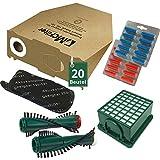 44 tlg Spar Angebot 20 Staubsaugerbeutel Filter Set Bürsten und Duft passend für Vorwerk Kobold VK 130 , Kobold VK 131 und 131 SC