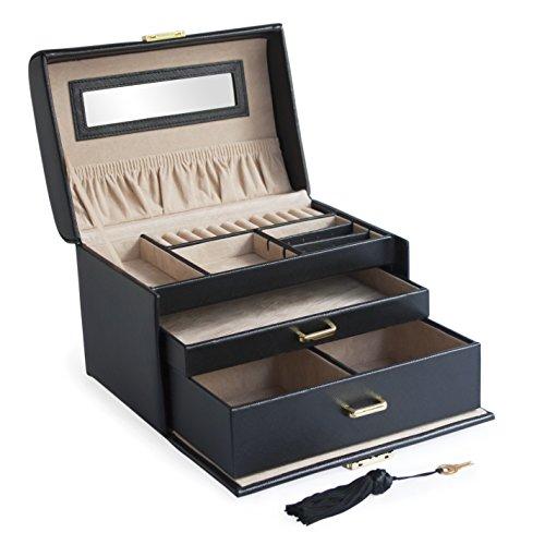 Rechteckige Schublade (Cordays -Damen Schmuckkasten rechteckig mit 3 Schubladen und externem Tragehenkel – Premium Qualität – Handgefertigt CDL-10015P)