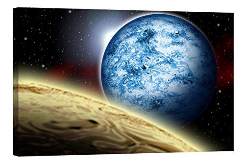 fototapete nachleuchtend Wandbilder Startoshop, nachleuchtende Leinwandbilder oder Selbstklebende Fototapete, unser Blauer Planet Wanddeko, 80 cm x 120 cm