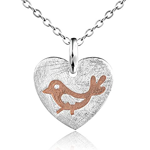 Dormith® Plata de ley 925 collares para las mujeres Corazón Embutido Pájaro colgante de collar chapado en plata moda joyas