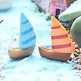 5Pcs DIY Miniature Sailboat Boat Style Garden Fairies Landscape Ornament Craft Decoration - Random Color