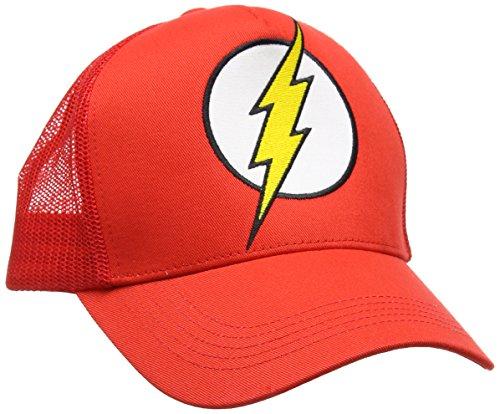 Comics Kostüm Blitz Der Dc (Flash Logo Trucker Cap - DC Comics - bestickt - Der Rote Blitz - Original Kappe von LOGOSHIRT - rot - Lizenziertes)