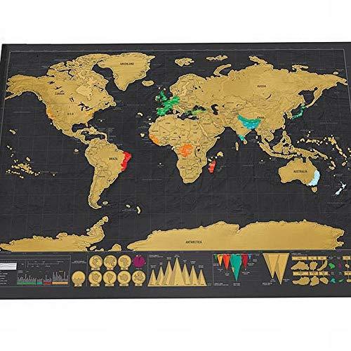 Wisdom mappa graffiante nera in oro mappa graffiante nera grande mappa creativa del mondo fatto a mano in colori creativi, come mostrato, 82,5 * 59,5 centimetri