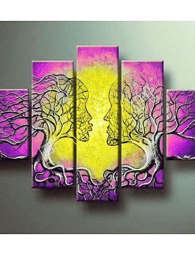 KK&MM Pintado a Mano del Arte de la Pared del árbol de la Vida decorn casa Cuadros Modernos Pintura al Óleo Abstracta de 5 Piezas Sobre Lienzo, Violet