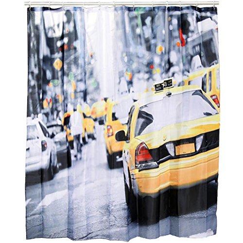 Ducomi tenda doccia antimuffa antibatterica con stampe 3d, 12 anelli di ancoraggio e occhielli in ottone - tenda grande impermeabile per bagno 180 x 180 cm (new york)