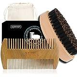 Brosse à Barbe, Peigne Barbe, Xpreen 100% travail manuel, en vert santal bois, peine des dents bilatéral&100% réelle suite brosse en soie de porc pour la barbe, les cheveux&la moustache