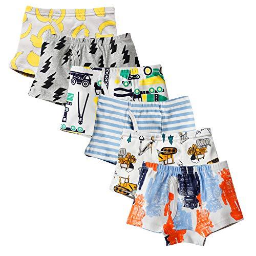 Anntry Weiche Baumwollene Unterwäschen Kinder 6-Pack Kleine Jungen Assorted Boxer Shorts Briefs (Color-1, 4-5 Years) -