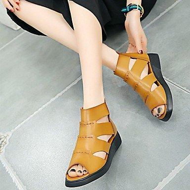 RTRY Donna Sandali Primavera Club Comfort Scarpe Casual Pu Tacco A Cuneo Giallo Nero US8 / EU39 / UK6 / CN39