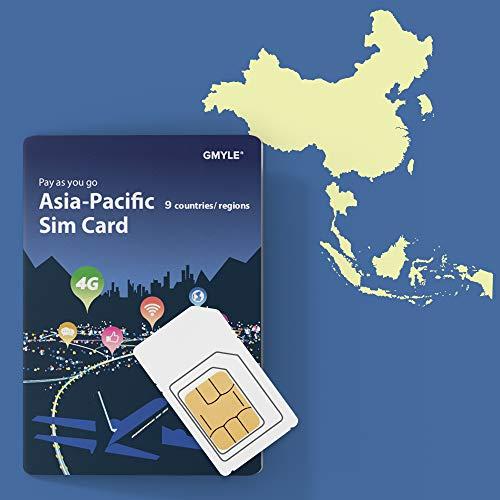 China, Thailand, Korea, Singapur usw. 9 Länder Prepaid-SIM-Karte 5 GB / 14 Tage, GMYLE Asia 4G LTE / 3G-Internetdaten, jederzeit und überall aufladen, Support Facebook Instagram YouTube in China (Cdma-hotspot)
