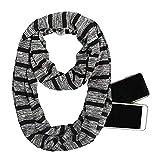 LogdistviQ - Bufanda Unisex con diseño de Rayas, con Cremallera, para Hombre y Mujer, con el Mismo Bolsillo, Bufanda con Rayas de Colores, Cuello Infinito con Cremallera de Almacenamiento Negro Negro