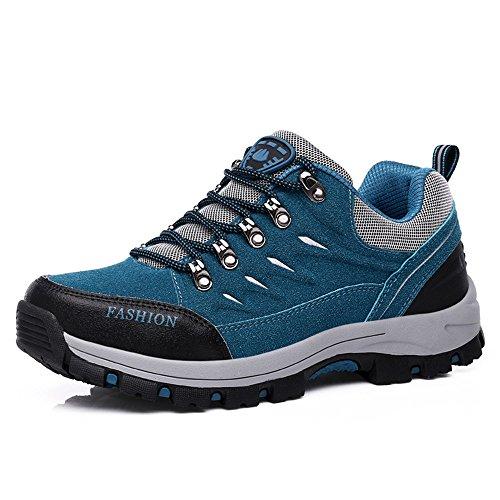 FZUU Femme Homme Chaussures de Randonnée Imperméable Lacées Plates Confortable et Respirant Bleu 35-44 (44, Grau)