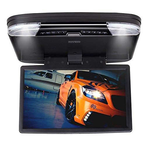 DDAUTO DD1556B Overhead Lecteur de DVD HD 1080P Flip Down Lecteur Multimédia pour Voiture avec Télécommande Gamepad Double Dôme Lumières LED Supporte USB SD HDMI Jeux 15,6 Pouces Noir