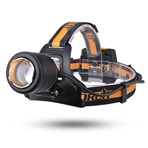 BORUiT 1600LM CREE XML L2 LED luce frontale fascio regolabile Messa a fuoco del faro 3 modalità con SOS Fischietto per Camping Pesca Ciclismo (giallo)