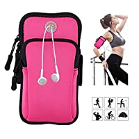 "Veriya Running Armband Phone Holder, Sports Armbands Cycling Hiking ArmBag for iPhone/iPod / 5.5"" Cellphone/Keys/Credit Card/Coins (Pink)"