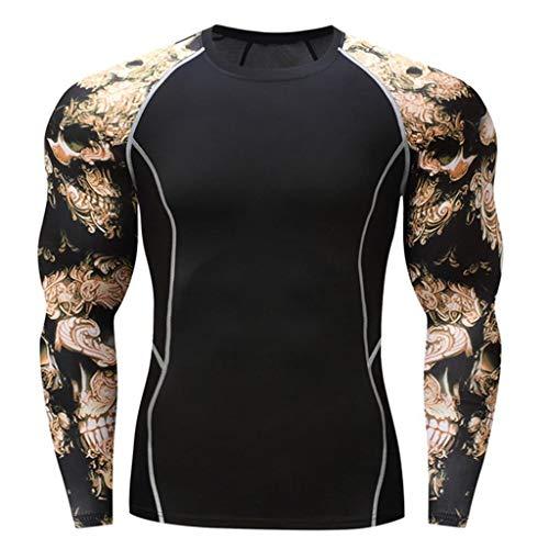 Makefortune Base Layer Top Männer & Jungen Wicking Quick Dry Lightweight Sport Compression T-Shirt Langarm-Shirt für Radfahren Skifahren Laufen Wandern -